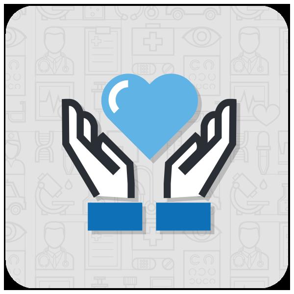 icona mani e cuore